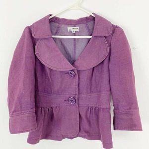 Ambition crop Peplum Denim Blazer Jacket Purple